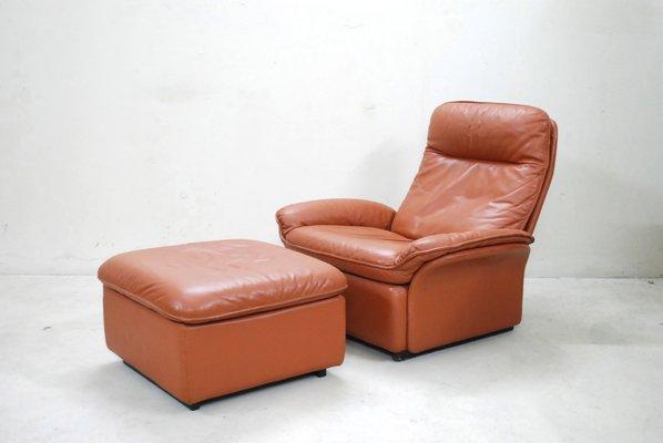 Strange Vintage Ds 49 Cognac Leather Lounge Chair Ottoman From De Sede Alphanode Cool Chair Designs And Ideas Alphanodeonline