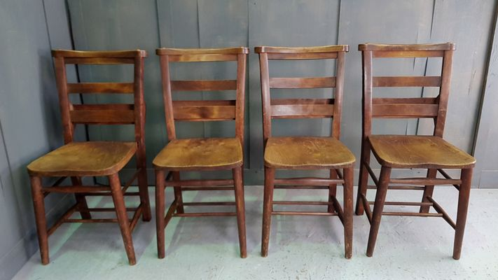 Antique Double Backrest Church Chairs Set of 4 1 & Antique Double Backrest Church Chairs Set of 4 for sale at Pamono