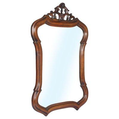 Venetian Art Nouveau Hand Carved Shaped Walnut Wall Mirror 1910s
