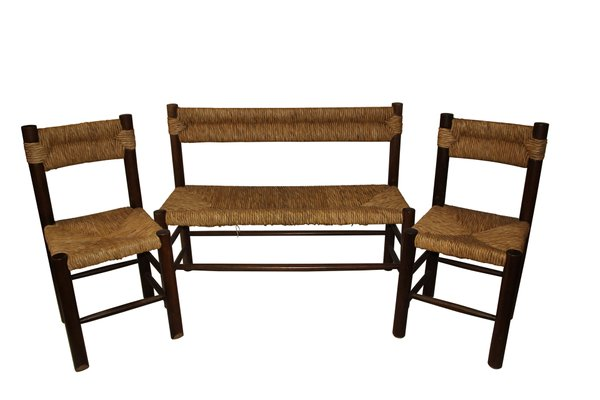 Terrific Wood And Rattan Bench 2 Chairs By Charlotte Perriand 1970S Short Links Chair Design For Home Short Linksinfo