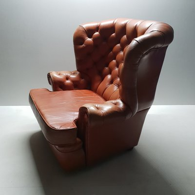 Outstanding Leather Wing Chair From Whittle Brothers Of Warrington 1970S Pabps2019 Chair Design Images Pabps2019Com