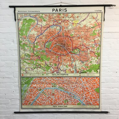Vintage Paris City School Map from Westermann, 1965 for sale at Pamono