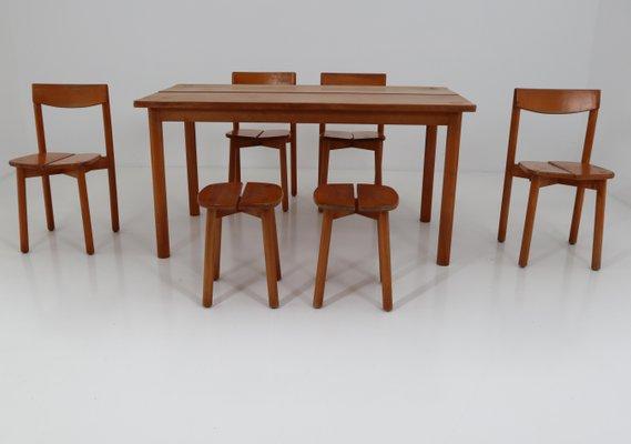 Par Delaye1960s Salle Chaises De Gautier 1 Vintage Table6 Et Avec À Tabourets Mobilier Pierre Manger 2 vmwyN8On0