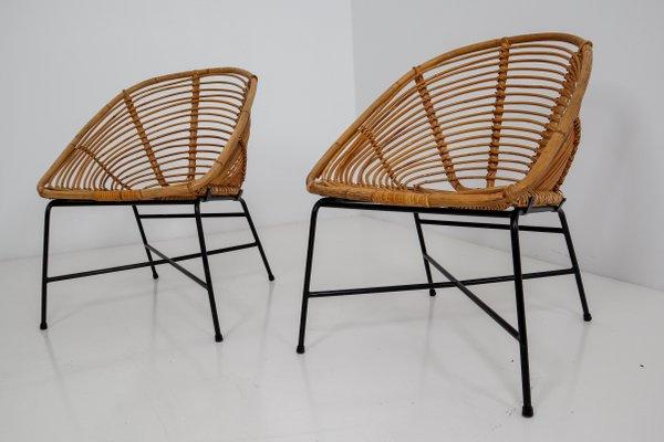 Mid Century Rattan Wicker Iron Patio Chair 1960s 3