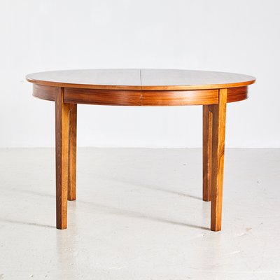 Round Vintage Danish Walnut Dining Table 1960s