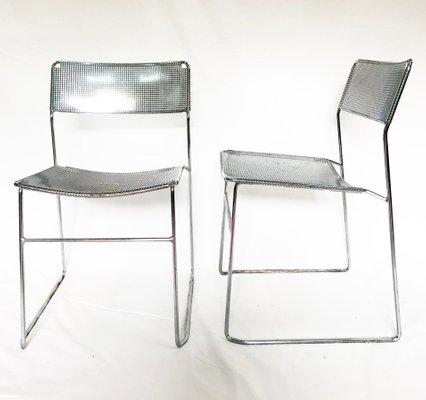 Sedie vintage in acciaio e metallo cromato perforato di Niels Jorgen  Haugesen per Magis, set di 2