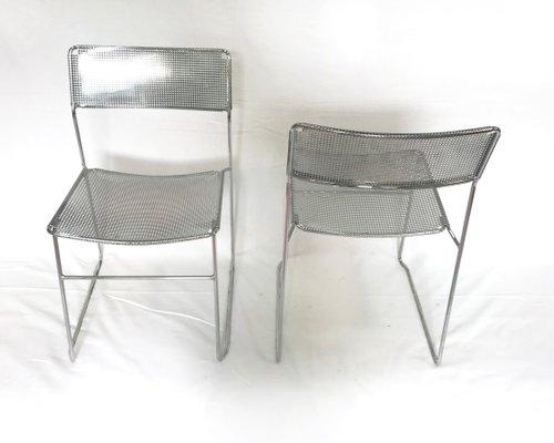 Sedie Di Metallo Vintage : Sedie vintage in acciaio e metallo cromato perforato di niels