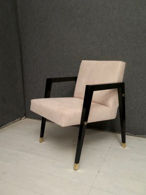 Mid Century Italian Wood And Brass Armchair 1950s For Sale At Pamono
