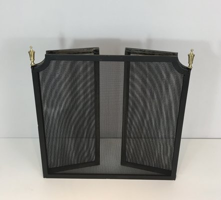 Fantastic Vintage Steel Brass And Grill Fireplace Screen 1940S Beutiful Home Inspiration Ommitmahrainfo