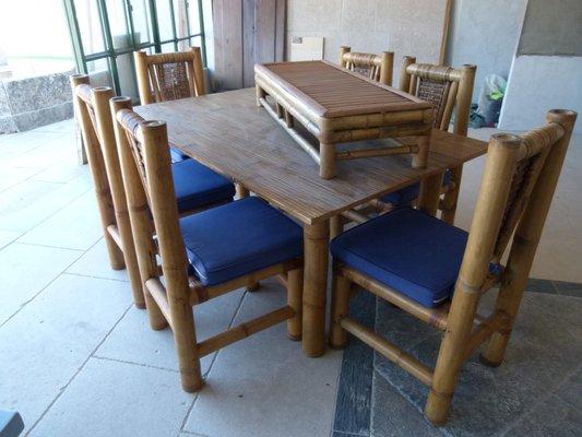 Tisch Set Aus Bambus Mit 6 Stühlen Und Beistelltisch 1960er Bei