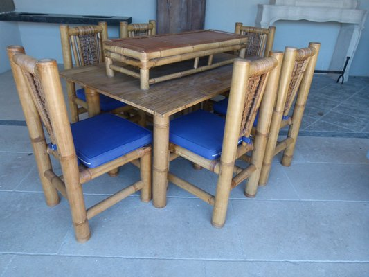 Bamboo Table Set With 6 Chairs And Side 1960s 1