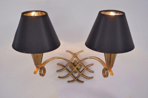 Applique vintage in bronzo dorato di jules leleu francia anni