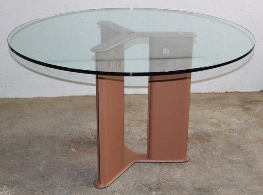 Tavolo rotondo in vetro e pelle di Tito Agnoli per Matteo Grassi ...
