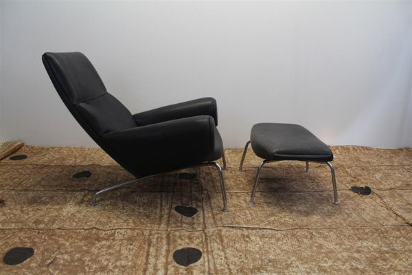 Vintage Swedish Black Leather Lounge Chairs U0026 Ottoman, 1970s