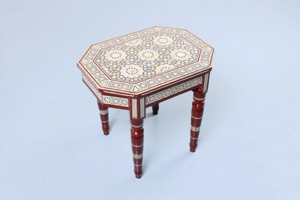 Egyptian Style Mosaic Inlay Side Table 1970s