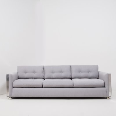 Mid-Century Grey Fabric 3-Seater Sofa, 1960s