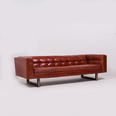 Tuxedo Red Leather Sofa by Milo Baughman, 1950s for sale at Pamono