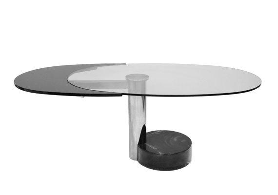 Vendita Tavoli Ovali In Cristallo.Tavolo Ovale Girevole In Acciaio E Vetro Anni 60