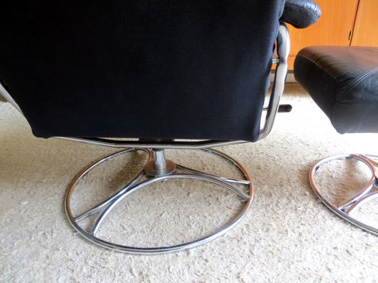 Mid Century Leather Chrome Lounge Chair Ottoman From Ekornes 1970s For Sale At Pamono