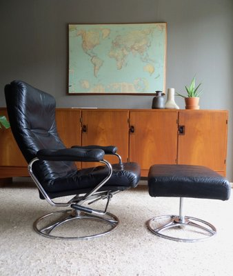 Swell Mid Century Leather Chrome Lounge Chair Ottoman From Ekornes 1970S Ocoug Best Dining Table And Chair Ideas Images Ocougorg