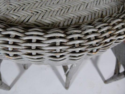 Table et Chaises de Jardin Vintage en Osier 1980s