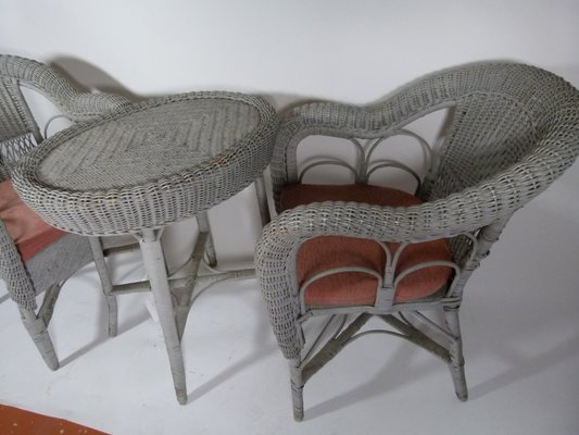 Attirant Vintage Wicker Garden Table And Chairs, 1980s