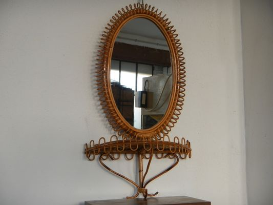 Wicker Mirror Shelf 1960s For Sale At Pamono