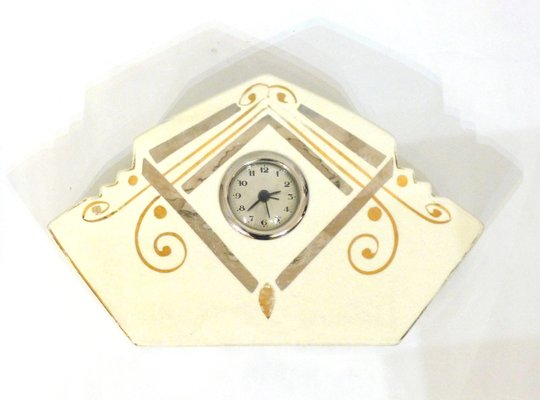 Cracked Earthenware With Gold And Silver Hand Painted Geometric Patterns Table  Clock, 1940s 1