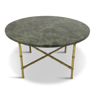 Large Marble And Brass Faux Bamboo Coffee Table, 1960s