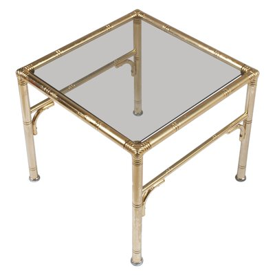 Mid Century Gilt Metal And Smoked Gl Coffee Table By Jacques Adnet For Maison Baguès