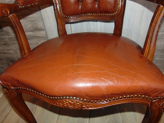 Vintage Wood And Leather Chair 2