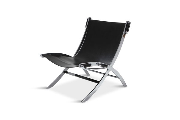Swell Vintage Chrome Black Leather Lounge Chair By Paul Tuttle For Flexform Cjindustries Chair Design For Home Cjindustriesco