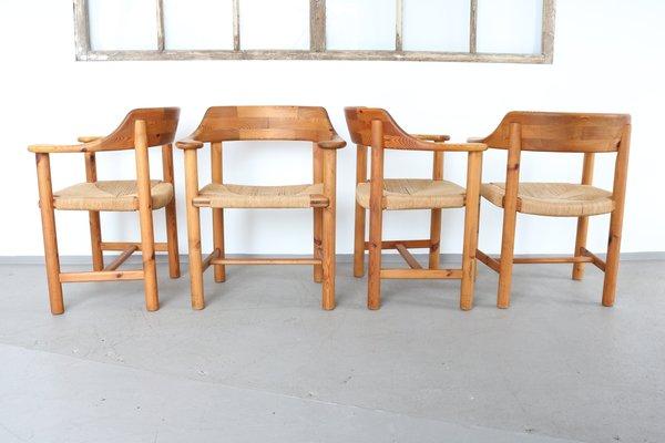 Sillas de comedor vintage de madera maciza e hilo sisal de Rainer Daumillerm, Juego de 4