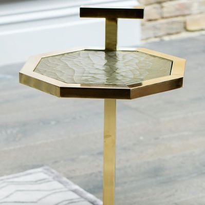 Brass Plated Gibson Martini Table with Cracked Gesso Surface by Casa Botelho