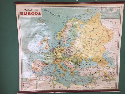 Map Of Europe For Sale.Portuguese Map Of Europe 1971 For Sale At Pamono