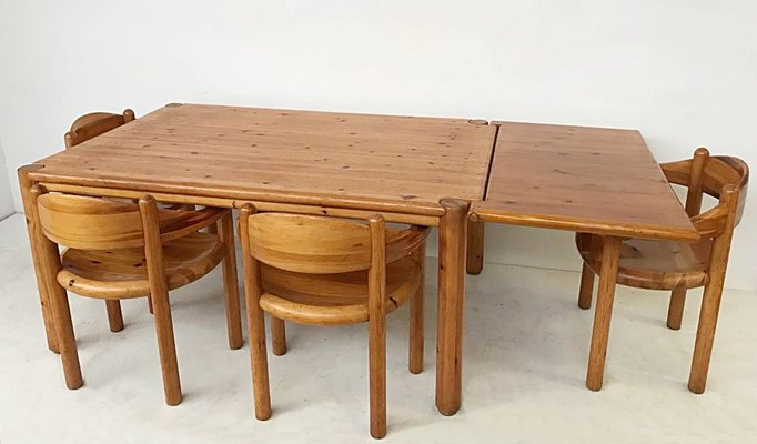 Vintage Pine Dining Set By Rainer Daumiller For Hirtshals Savvaerk
