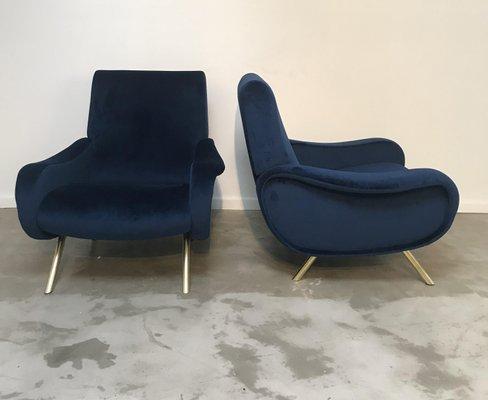 Mid Century Lady Chairs Mit Blauem Samt Von Marco Zanuso 2er Set