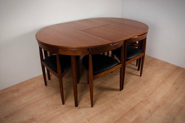 Mesa de comedor extensible y seis sillas de teca de Hans Olsen para ...