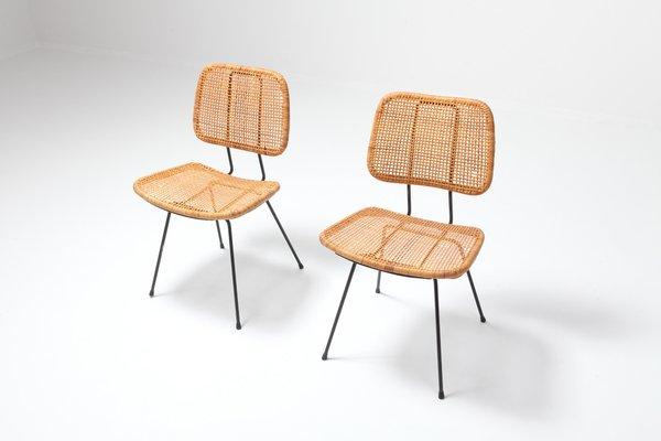 Wondrous Cane Black Metal Dining Chairs By Dirk Van Sliedregt 1950S Set Of 2 Ibusinesslaw Wood Chair Design Ideas Ibusinesslaworg