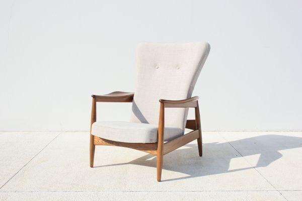 Enjoyable Mid Century Danish Reclining Beech Armchair 1960S Ibusinesslaw Wood Chair Design Ideas Ibusinesslaworg