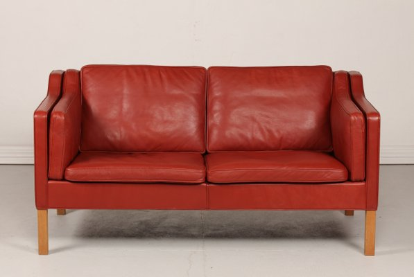 Model 2212 Oak & Brick Red Leather Sofa by Børge Mogensen for Fredericia,  1985
