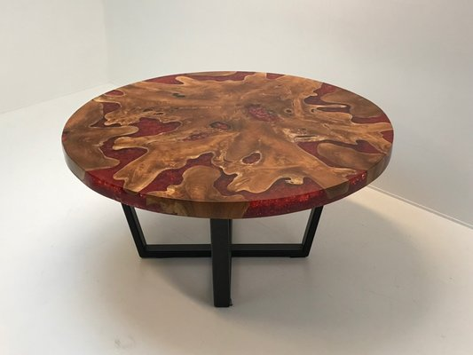 Modernist Round Wood Resin Table With Iron Base