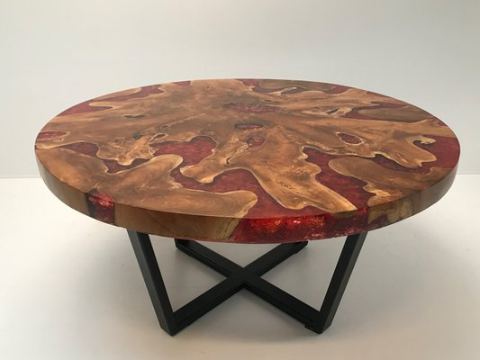 Modernist Round Wood & Resin Table with Iron Base, 2000s