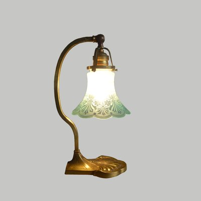 Brass Glass Shade Table Lamp 1930s