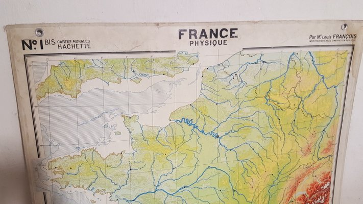 Geographical Map Of France.Mid Century French Geographical Map