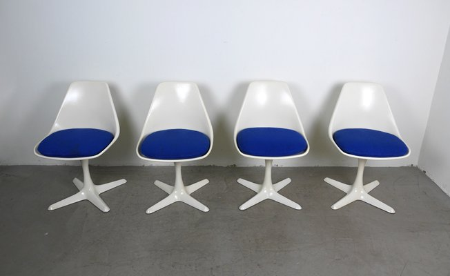 Swell Vintage Model 115 White Swivel Chairs By Maurice Burke For Arkana 1960S Set Of 4 Cjindustries Chair Design For Home Cjindustriesco