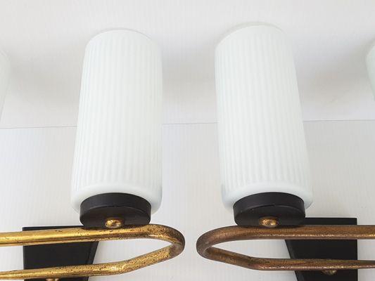 Applique mid century in vetro ottone e acciaio francia anni 50