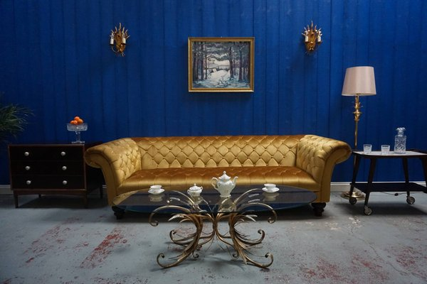 Surprising Mid Century Gold Velvet Chesterfield Sofa 1960S Pabps2019 Chair Design Images Pabps2019Com