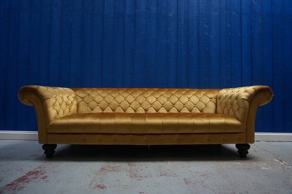 Mid Century Gold Velvet Chesterfield Sofa 1960s For Sale At Pamono