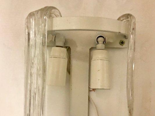 Applique mid century in vetro di murano di gino vistosi set di 2 in
